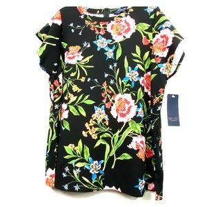 Rachel Roy Black Combo Floral Top